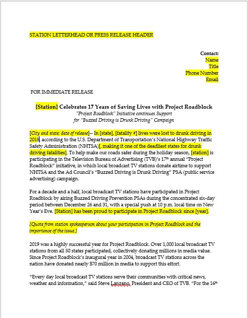 PRB Customizable Press Release